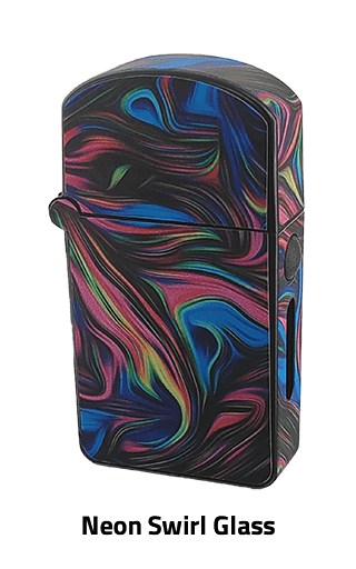 ZOLO-S oil cartridge battery with Neon Swirl Glass design