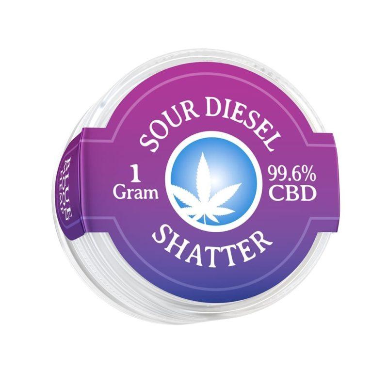 Blue Moon Hemp 99.6% pure CBD shatter in 1g size Sour Diesel