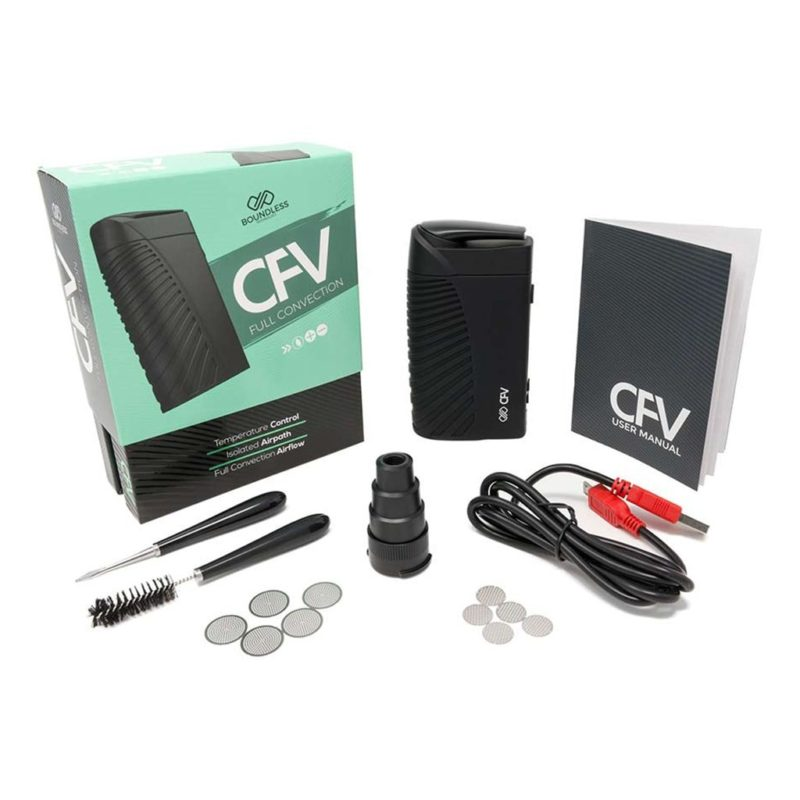 Boundless CFV dry herb vaporizer showing package contents