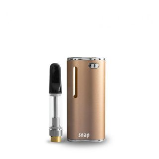 Exxus Snap oil cartridge vaporizer in gold with oil cartridge standing outside
