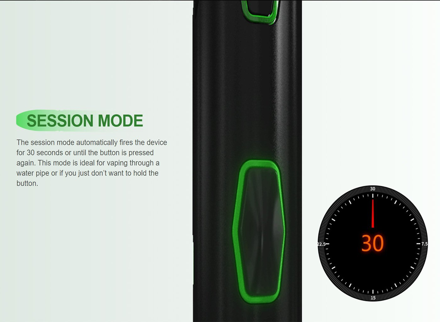 Vivant VLeaf Go convection dry herb vaporizer explaining session mode