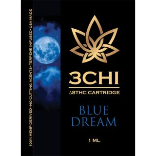 3Chi delta 8 THC vape cartridge with blue dream strain profile