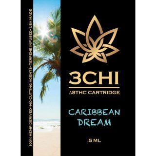 3Chi delta 8 THC vape cartridge with caribbean dream strain profile in 1ml size