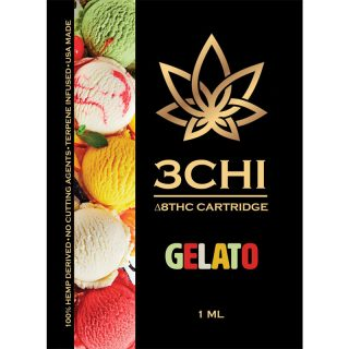 3Chi delta 8 THC vape cartridge with gelato strain profile in 1ml size