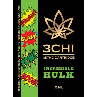 3Chi delta 8 THC vape cartridge with incredible hulk strain profile in 0.5ml size