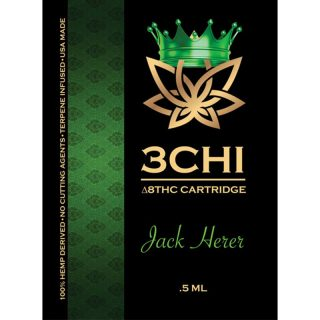 3Chi delta 8 THC vape cartridge with jack herer strain profile in 0.5ml size