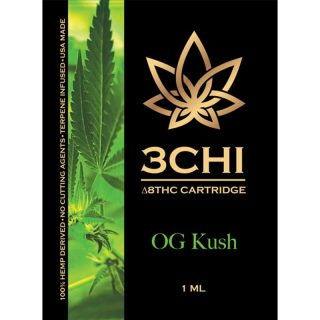 3Chi delta 8 THC vape cartridge with og kush strain profile in 1ml size