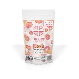 Treetop Hemp Co peach flavored delta 8 thc gummy with 30mg in a 10-pack