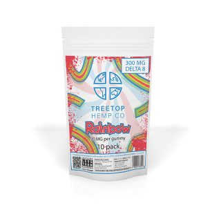 Treetop Hemp Co rainbow flavored delta 8 thc gummy with 30mg in a 10-pack