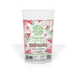 Treetop Hemp Co watermelon flavored delta 8 thc gummy with 30mg in a 10-pack