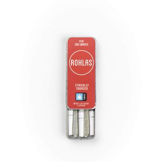 Rohlas Red CBD Smokes 5-pack of .3g pre-rolls with 130mg CBD and a smokable herbal blend showing inside the container