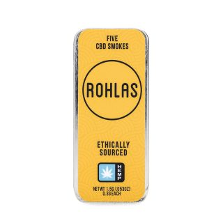 Rohlas Yellow CBD Smokes 5-pack of .3g pre-rolls with 130mg CBD and a smokable herbal blend