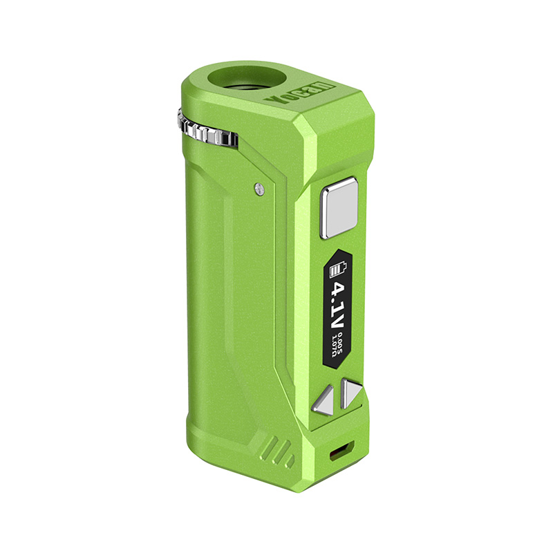Yocan UNI Pro Box Mod Universal Portable Vaporizer for THC and CBD Oil Cartridges, Vape Pen Battery Yocan UNI Pro 510 thread box mod offers ultimate protection and discretion for your oil cartridges in Green